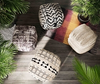 Tov Furniture Balhi Cotton Pouf