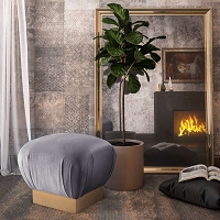 Tov Furniture Lotus Grey Ottoman