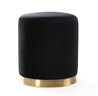 Tov Furniture Opal Black Velvet Ottoman Gold Base