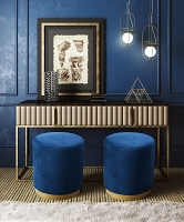 Tov Furniture Opal Navy Velvet Ottoman Gold Base