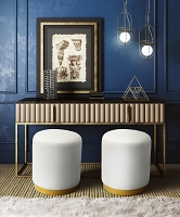 Tov Furniture Opal Cream Velvet Ottoman Gold Base