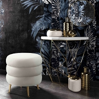 Tov Furniture Ladder Cream Velvet Ottoman