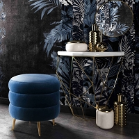 Tov Furniture Ladder Blue Velvet Ottoman