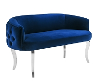 Tov Adina Navy Velvet Loveseat with Silver Legs