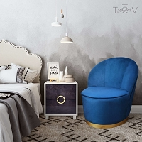 Tov Furniture Julia Navy Velvet Junior Chair