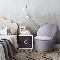 Tov Furniture Julia Grey Velvet Junior Chair