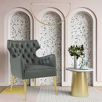 Tov Furniture Elsa Grey Leather Chair