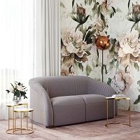 Tov Furniture Yara Pleated Grey Velvet Loveseat