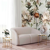 Tov Furniture Yara Pleated Beige Velvet Loveseat