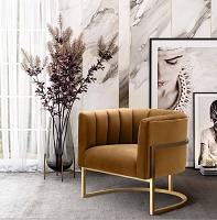 Tov Furniture Magnolia Cognac Velvet Chair