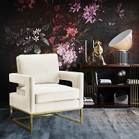 Tov Furniture Avery Cream Velvet Chair