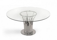 VIG Furniture Modrest Paxton Modern Round Glass and Stainless Steel Dining Table