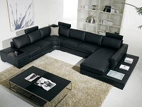 VIG Furniture Divani Casa T35 Modern Leather Sectional Sofa with Light