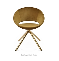 Crescent Stick Dining Chair Fabric - Gold Base | Soho Concept