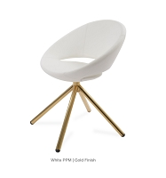 Crescent Stick Dining Chair Leather - Gold Base | Soho Concept