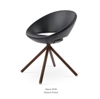 Crescent Stick Dining Chair Leather - Walnut Veneer Base | Soho Concept