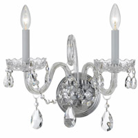 Crystorama Traditional Crystal 2 Light Crystal Chrome Sconce