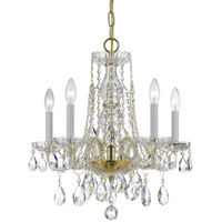 Crystorama Traditional Crystal 5 Light Swarovski Crystal Brass Mini Chandelier