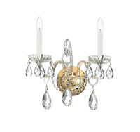 Crystorama Traditional Crystal 2 Light Swarovski Crystal Brass Sconce