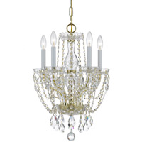Crystorama Traditional Crystal 5 Light Crystal Brass Mini Chandelier