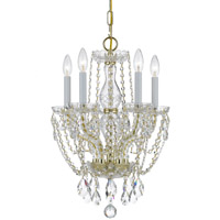 Crystorama Traditional Crystal 5 Light Spectra Crystal Brass Mini Chandelier