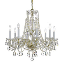 Crystorama Traditional Crystal 8 Light Spectra Crystal Brass Chandelier