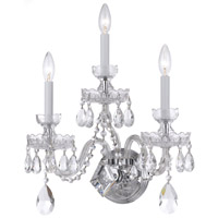 Crystorama Traditional Crystal 3 Light Swarovski Crystal Chrome Sconce