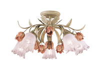 Crystorama Southport 5 Light Sage Rose Floral Semi-Flush