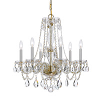 Crystorama Traditional Crystal 6 Light Crystal Brass Chandelier