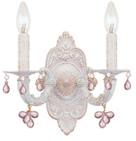 Crystorama Paris Market 2 Light Rose Crystal White Sconce