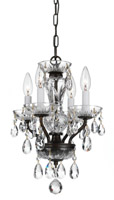 Crystorama Traditional Italian Crystal 4 Light Bronze Mini Chandelier