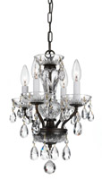 Crystorama Traditional Crystal 4 Light Bronze Mini Chandelier