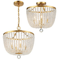 Crystorama Rylee 4 Light Antique Gold Ceiling