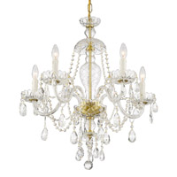 Crystorama CAN-A1305-PB-CL-S Candace 5 Light Brass Chandelier
