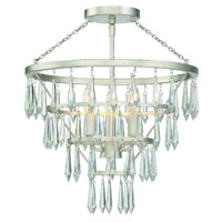 Crystorama Lucille 3 Light Antique Silver Ceiling