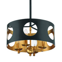 Crystorama Odelle 4 Light Black Gold Ceiling Pendant