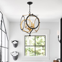Crystorama Odelle 4 Light Black Gold Chandelier