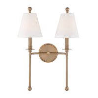 Crystorama Riverdale 2 Light Aged Brass Wall
