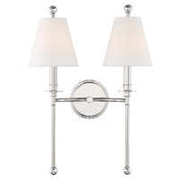 Crystorama Riverdale 2 Light Polished Nickel Wall
