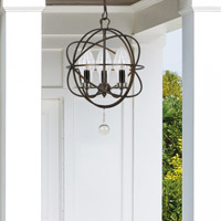 Crystorama Solaris Outdoor 3 Light Bronze Sphere Chandelier