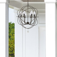 Crystorama Solaris Outdoor 6 Light Bronze Sphere Chandelier