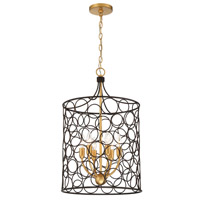 Crystorama Stemmons 6 Light Bronze Antique Gold Lantern