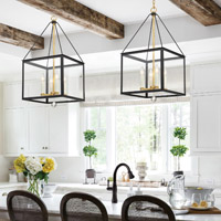 Crystorama Weston 4 Light Black Gold Lantern