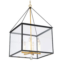 Crystorama Weston 6 Light Black Antique Gold Lantern