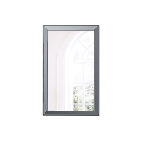 Abrazo Rectangular Mirror High Gloss Grey Frame | Whiteline