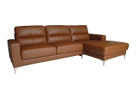 Pandora Sectional Sofa Taupe Leather | Whiteline