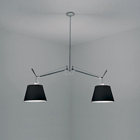 Tolomeo Double Shade Black Fabric Suspension | Artemide