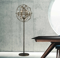 Armillary Foucault's Orb Gold Teak Crystal Floor Lamp W63190AB24-GT | Worldwide Lighting
