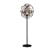 Armillary Foucault's Orb Gold Teak Crystal Floor Lamp W63190F24-GT | Worldwide Lighting