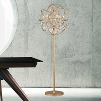 Armillary Foucault's Orb Crystal Floor Lamp W63190MG24-CL | Worldwide Lighting